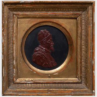 Continental Painted Composition Profile Portrait of a Pope