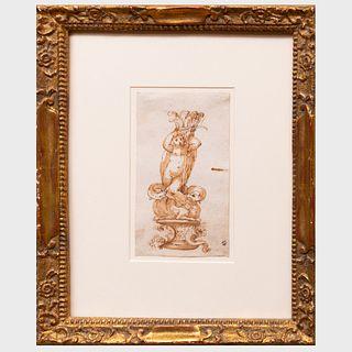 Circle of Bernadino India (1536-1590): Design for a Baroque Figural Torchère
