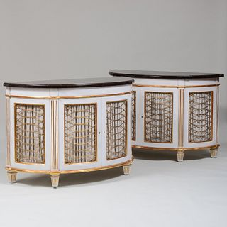Pair of George III Style White Painted and Parcel-Gilt D-Shaped Cabinets