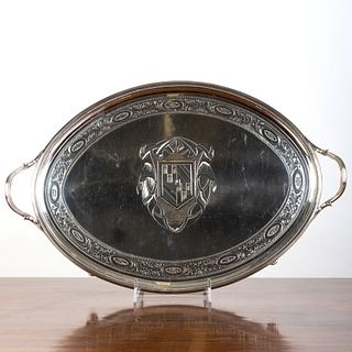 George III Silver Armorial Two Handle Tray