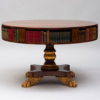 Fine George IV Brass-Inlaid Rosewood and Parcel-Gilt Library Table