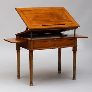 Rare Russian Brass-Mounted Mahogany Architects Table, in the Manner of David Roentgen
