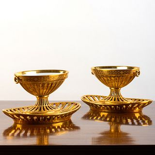 Pair of Continental Gilt Decorated Porcelain Sauce Tureens on Fixed Stands, Probably Paris