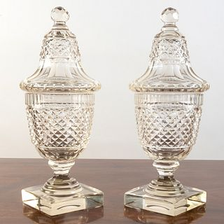 Pair of English Cut Glass Sweetmeat Cups and Covers
