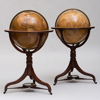 Two Fine Regency Globes on Mahogany Stands, by William and Thomas M. Bardin