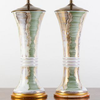 Pair of English Green and Gilt Opaline Glass Tapered Vases Mounted as Lamps