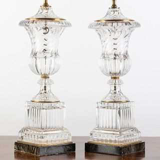 Pair of Molded Glass Urn-Form Lamps on Faux Marble Bases
