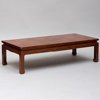 Chinese Brown Lacquer and Parcel-Gilt Low Table