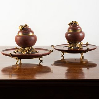Pair of Continental Gilt-Bronze-Mounted Rouge Royale Marble Inkwells