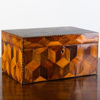Early English Victorian Large Parquetry Table Box