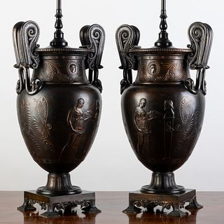 Pair of Italian Neoclassical Bronze Krater Form Urns Mounted as Lamps