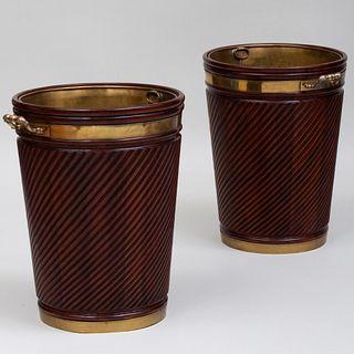 Pair of Large Regency Style Brass-Mounted Mahogany Peat Buckets, Possibly Irish