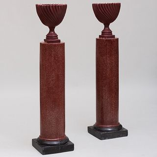 Pair of Italian Faux Porphyry Scagliola Columns with a Pair of Maroon Painted Urns