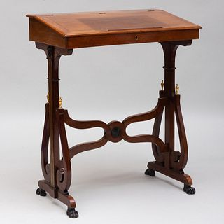 Rare Directoire Brass and Ormolu-Mounted Mahogany and Ebonized Slant-Front Standing Desk