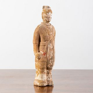 Chinese Painted Grey Pottery Figure of an Immortal