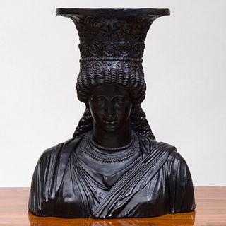 Large Ebonized Composition Bust of a Greek Caryatid, After the Antique