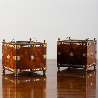 Pair of Brass-Mounted and Mother-of-Pearl Inlaid Square Burlwood Orange Tubs