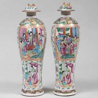 Pair of Chinese Export Famille Rose Porcelain Vases and Two Covers