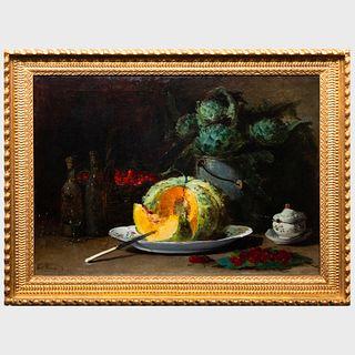 Guillaume Romain Fouace (1827-1895): Nature mort avec melon