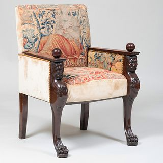 Continental Neoclassical Style Carved Mahogany and Tapestry Upholstered Armchair