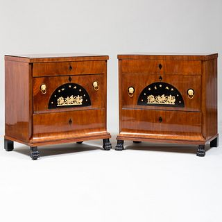 Near Pair of German Neoclassical Gilt-Metal-Mounted Mahogany and Ebonized Chest of Drawers