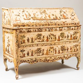 Italian Rococo Painted and Lacca Povera Slant-Front Desk