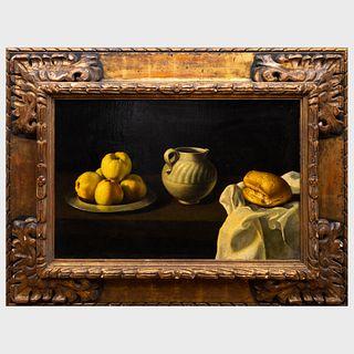 School of Juan de Zubaran (1620-1649): Still Life with Apples, Jug and Bread