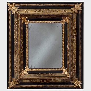 Small Flemish Baroque Style Gilt-Metal-Mounted Ebony Mirror