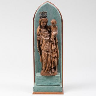 Renaissance Style Carved Wood Figure of the Madonna and Child