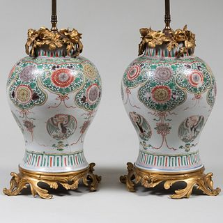 Pair of Ormolu-Mounted Chinese Wucai Porcelain Jars Mounted as Lamps