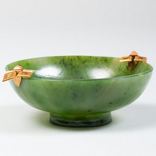 Marchak, Paris Gold and Coral Mounted Jade Bowl