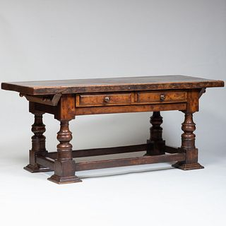 Continental Baroque Style Walnut Console Table, Possibly Spanish
