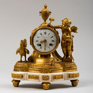 Louis XVI Style Ormolu and Marble Mantel Clock with Putti and Rooster
