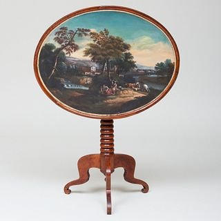 Dutch Provincial Fruitwood and Painted Tilt-Top Table