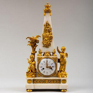 Louis XVI Style Gilt-Bronze-Mounted White Marble Obelisk Mantle Clock, Signed Jean Léonard Roque