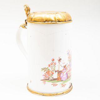 Early Meissen Gilt-Metal-Mounted Chinoiserie Porcelain Tankard
