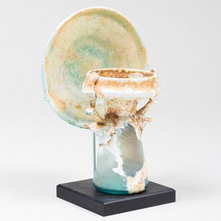 Roman Glass Perfume Bottle and Plate