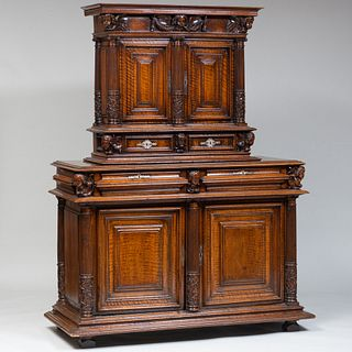 Continental Baroque Style Carved Walnut Two-Part Cabinet, probably Italian