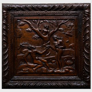 Continental Carved Wood Panel Depicting Adam and Eve in the Garden of Eden