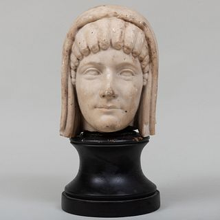 Continental Carved Marble Bust of a Greek Woman, After the Antique