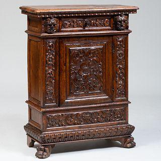 Henri II Style Carved Walnut Side Cabinet