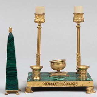 Group of Brass-Mounted Malachite Desk Articles