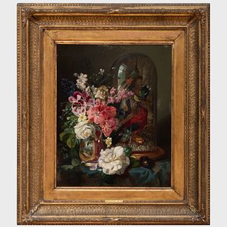 John Wainwright (active 1845-1873): Floral Still Life with Stuffed Birds Under Glass
