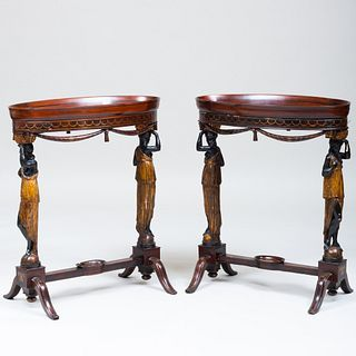 Pair of Italian Neoclassical Brass-Mounted Mahogany, Ebonized and Parcel-Gilt Side Tables