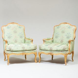 Pair of Louis XV Style Carved Giltwood Bergères, 19th Century