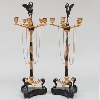 Pair of Continental Gilt and Patinated-Bronze Candelabra, of Recent Manufacuture
