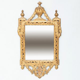 Pair of Continental Neoclassical Giltwood Mirrors, Probably North Italian