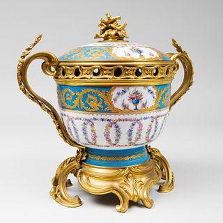 Large Louis XV Style Gilt-Metal-Mounted Sèvres Style Brûle Parfum