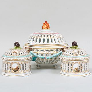Meissen Porcelain Openwork Bowl and Cover and a Pair of Openwork Baskets