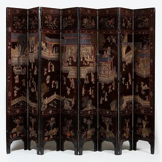 Chinese Brown Lacquer Coromandel Eight Panel Screen